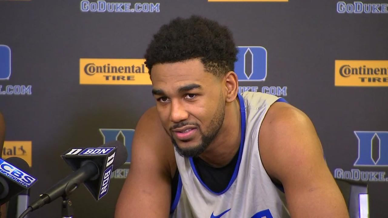Duke players discuss the upcoming game against UNC