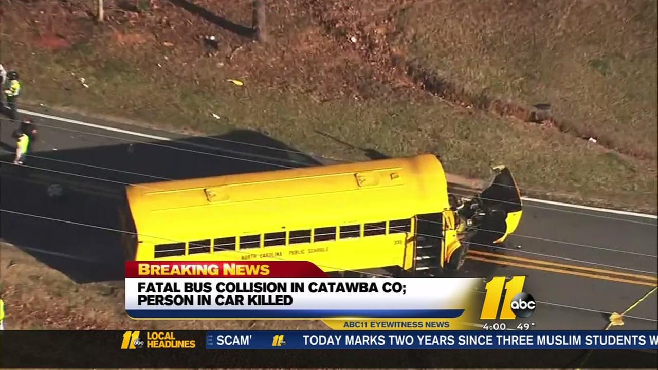 Catawba County crash involving school bus