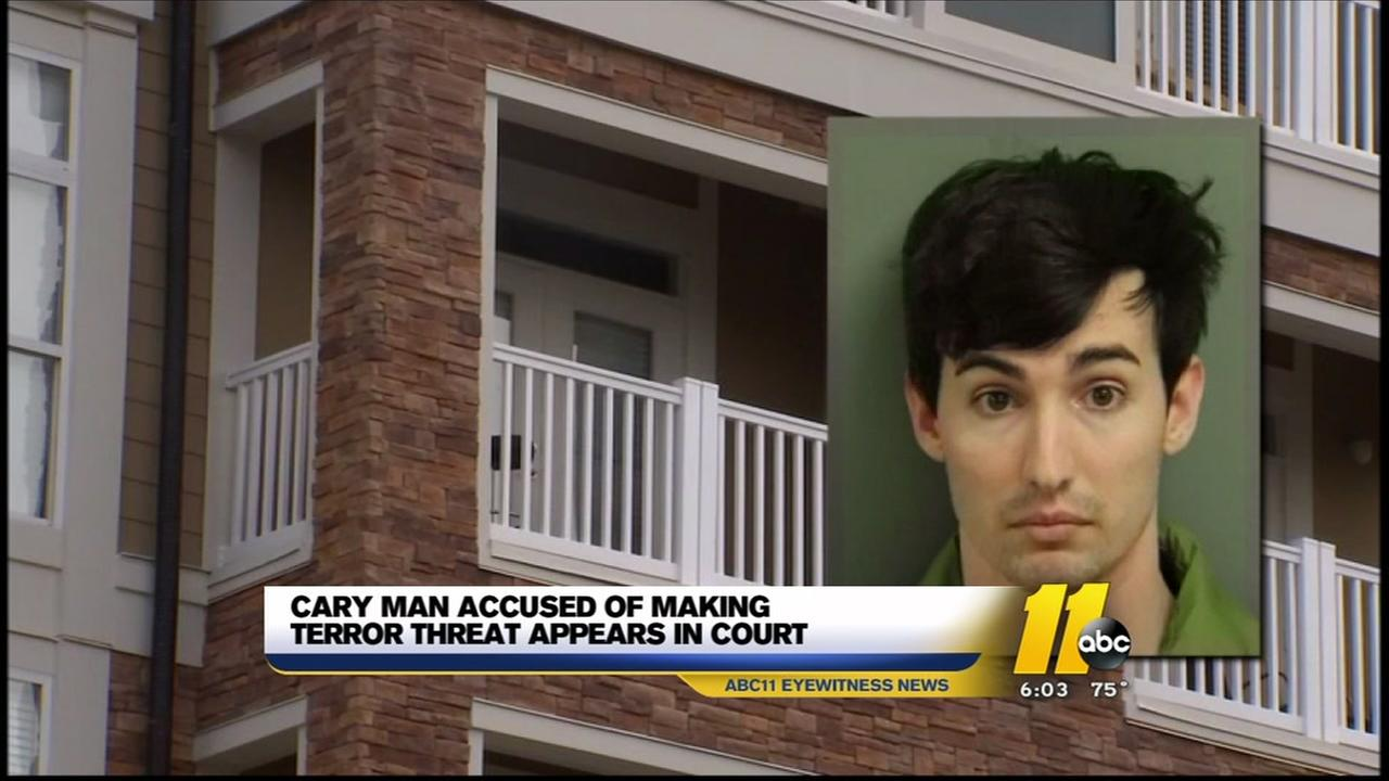 Cary man accused of making terror threat appears in court