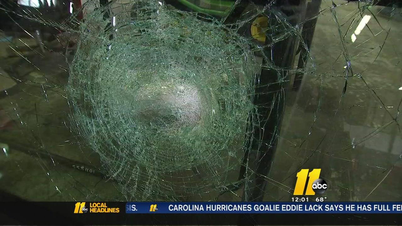 Truck windshields smashed by rocks on I-85
