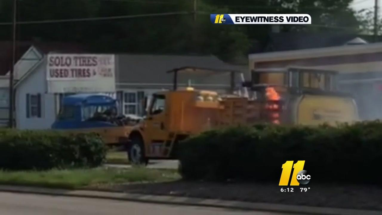 Truck catches fire at Raleigh gas station