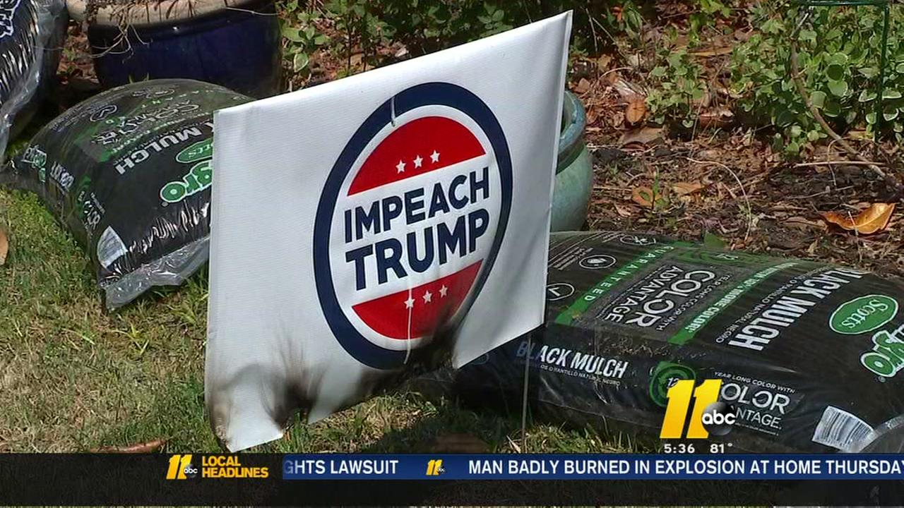 Political signs torched in Durham neighborhood