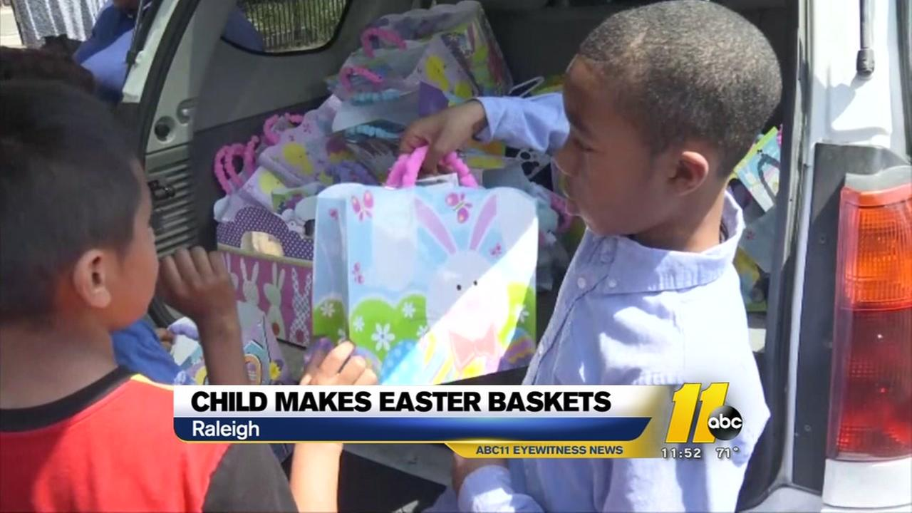 Raleigh child makes Easter baskets for others