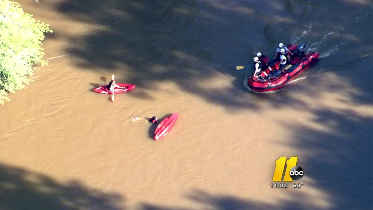 Kayakers rescued on swollen Neuse River