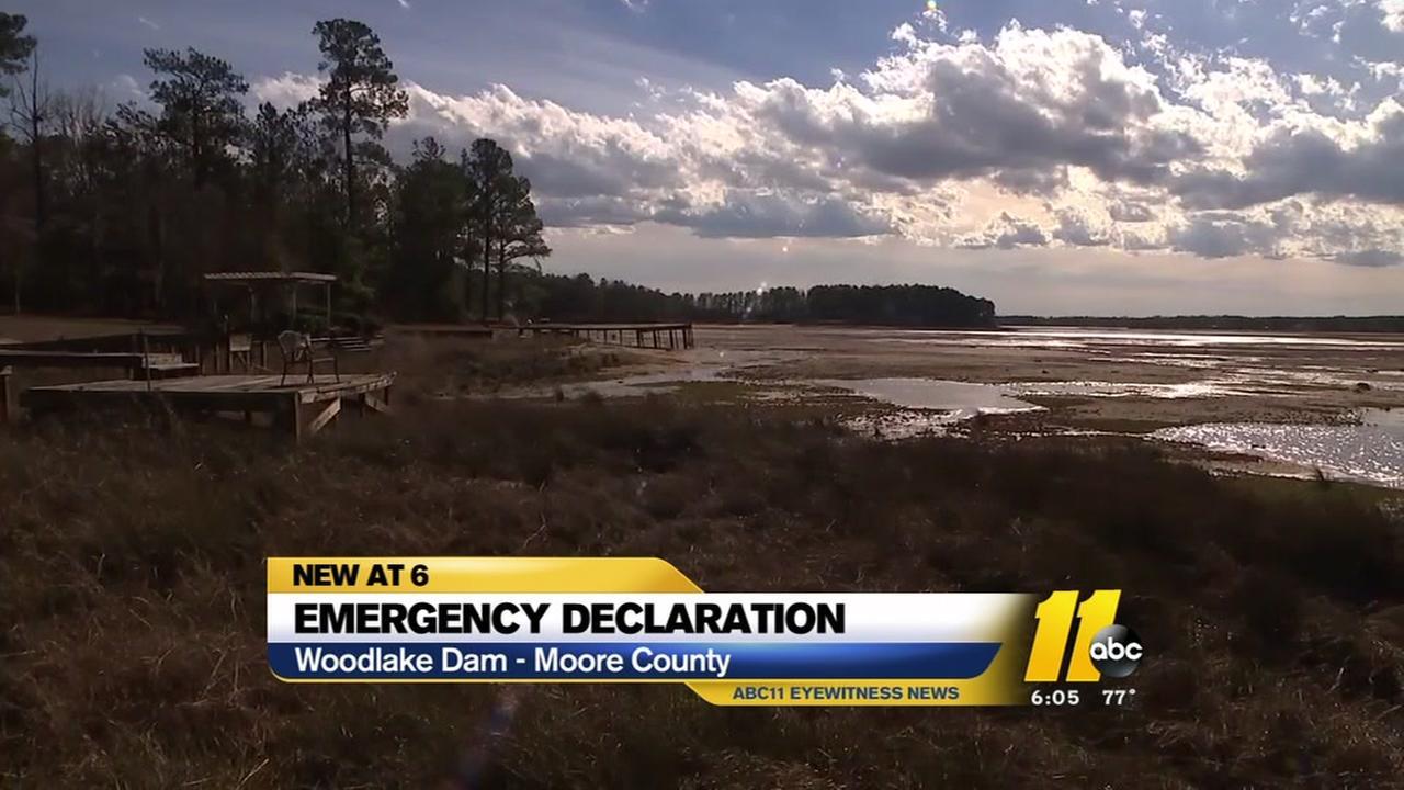 An emergency declaration at Woodlake Dam