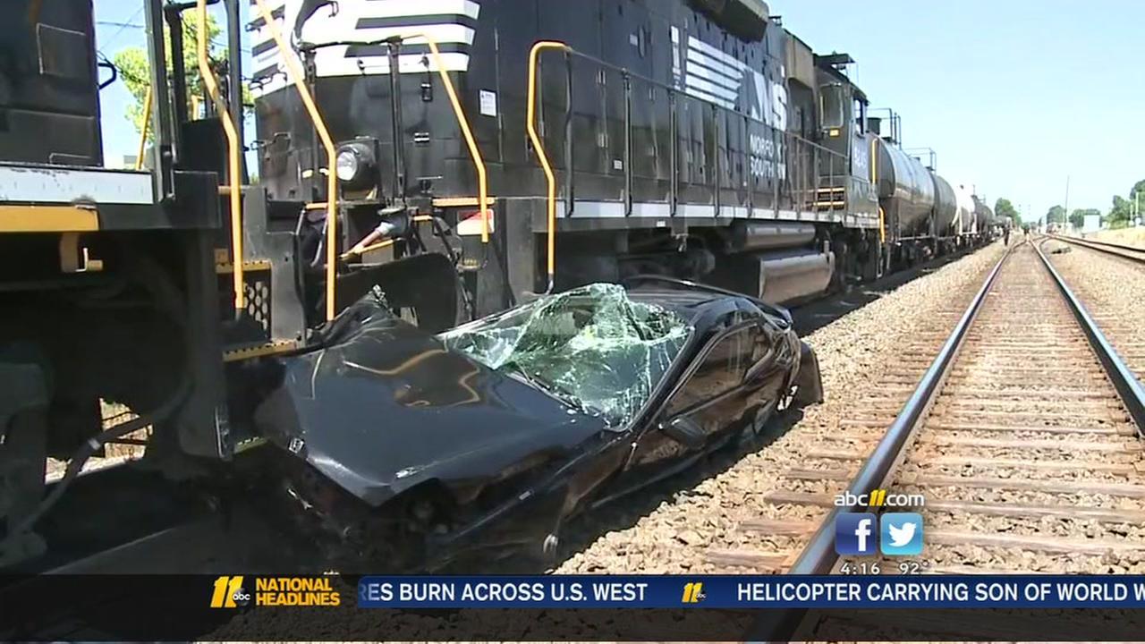 Train drags car in Durham