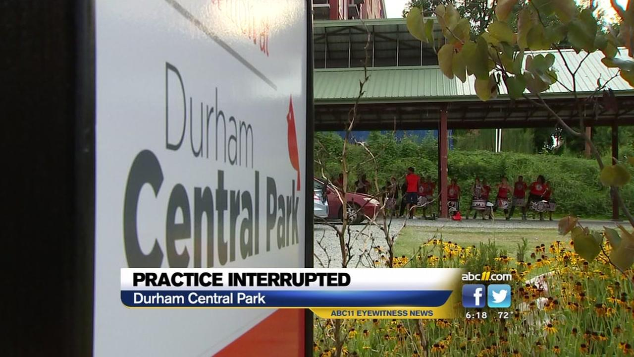 Practice, interrupted for Durham band