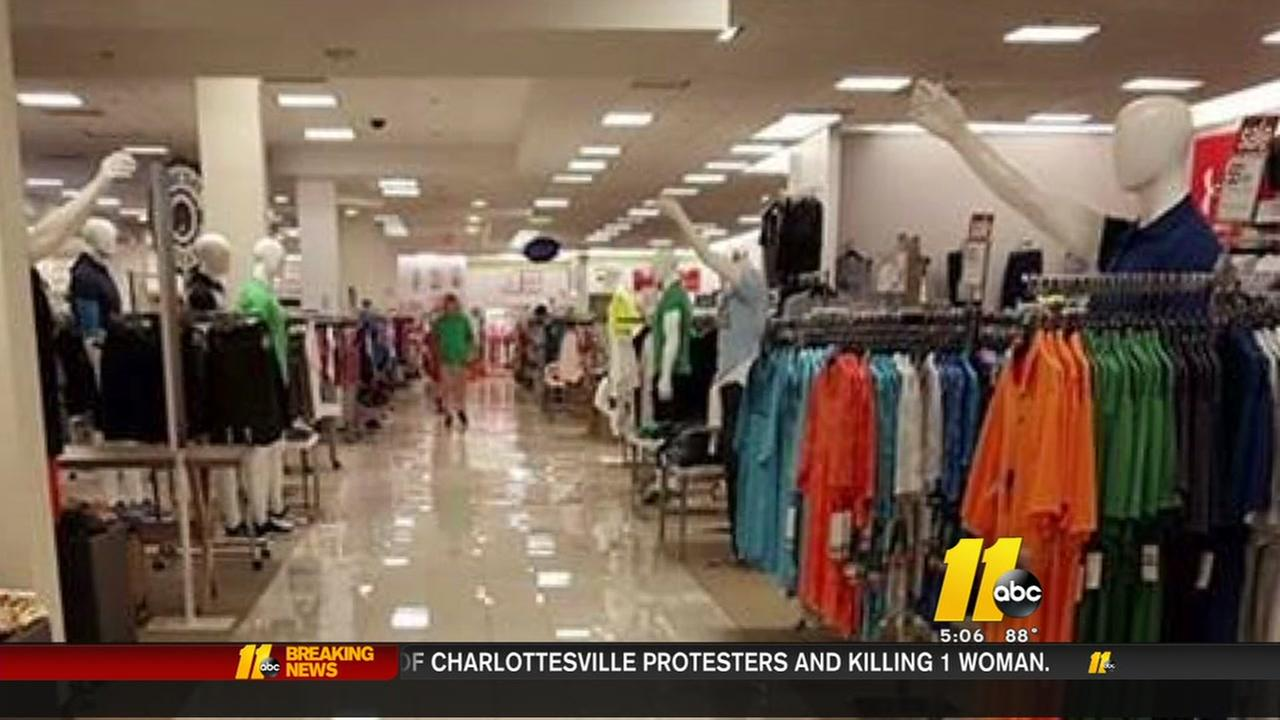 Mannequins rearranged at Belk in Cary