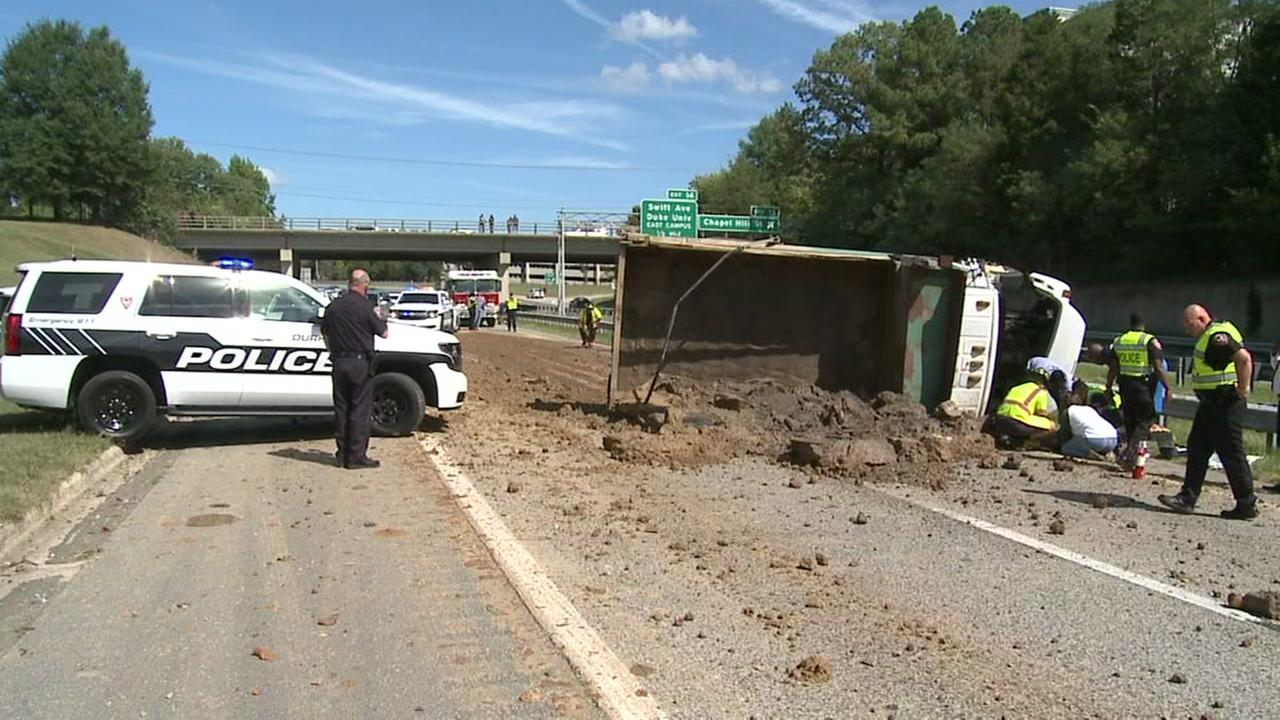 Durham freeway south reopens after truck overturns
