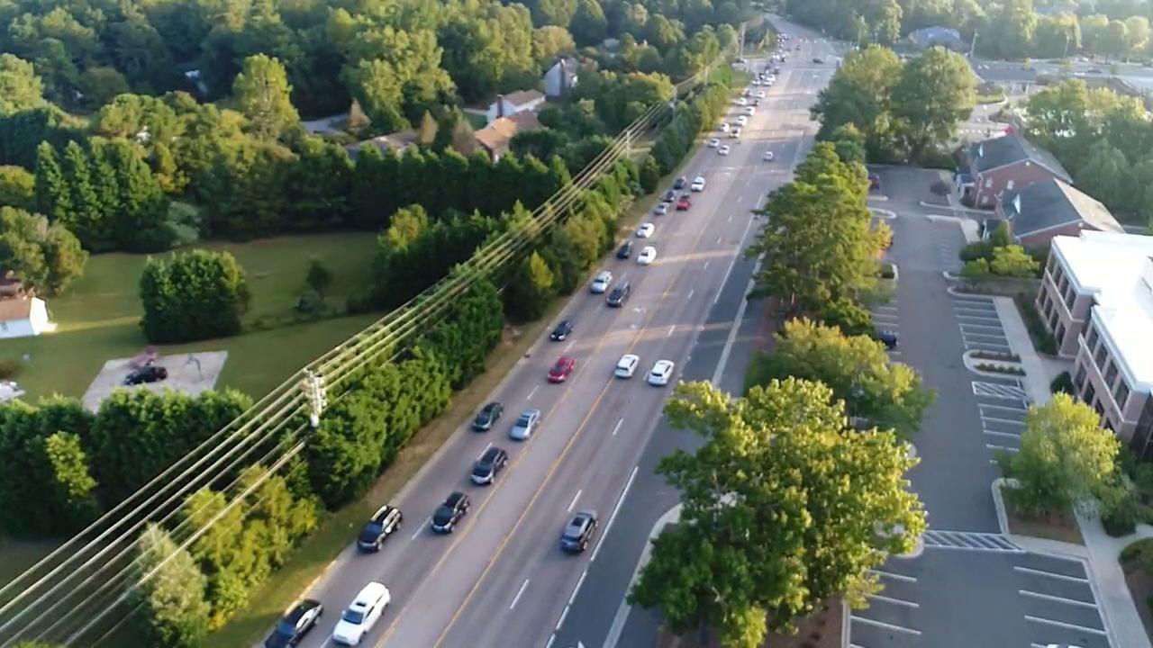 Traffic backups along I-540 at Falls of Neuse Road