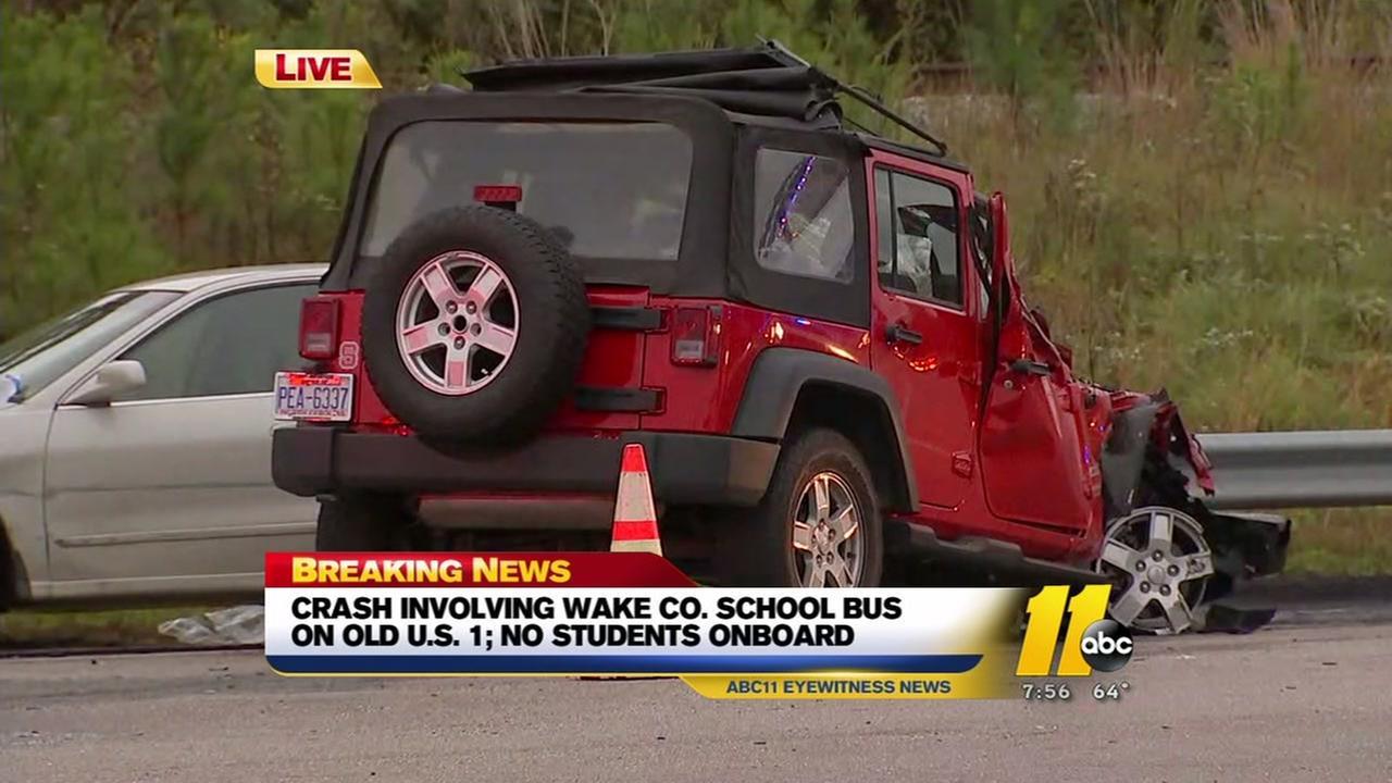 School bus involved in Apex crash