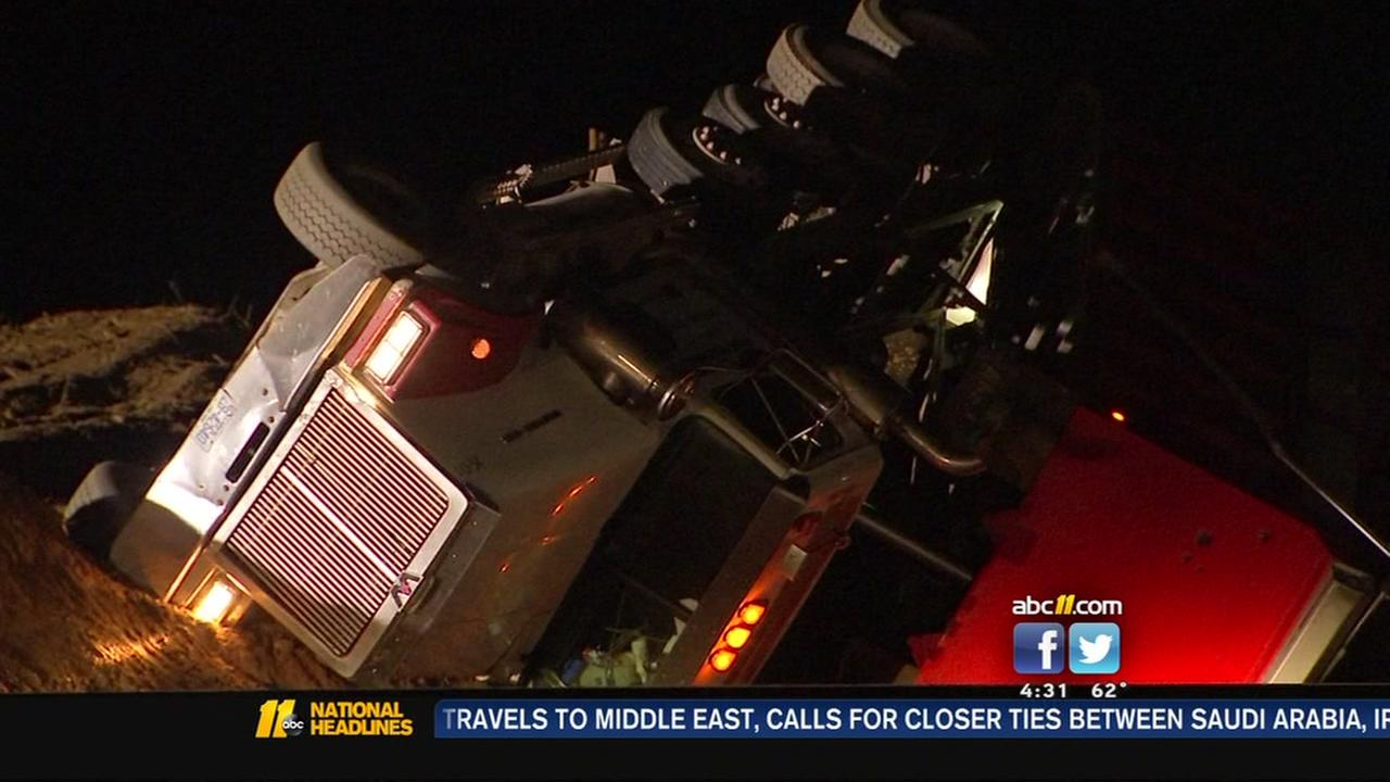 Overturned truck on I-40 in Raleigh