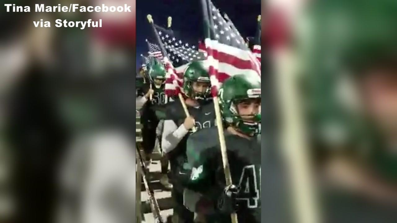 Viral: CA football team makes patriotic entrance at game