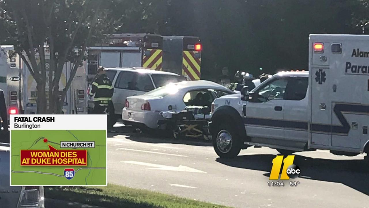Woman dies at Duke Hospital after crash in Burlington