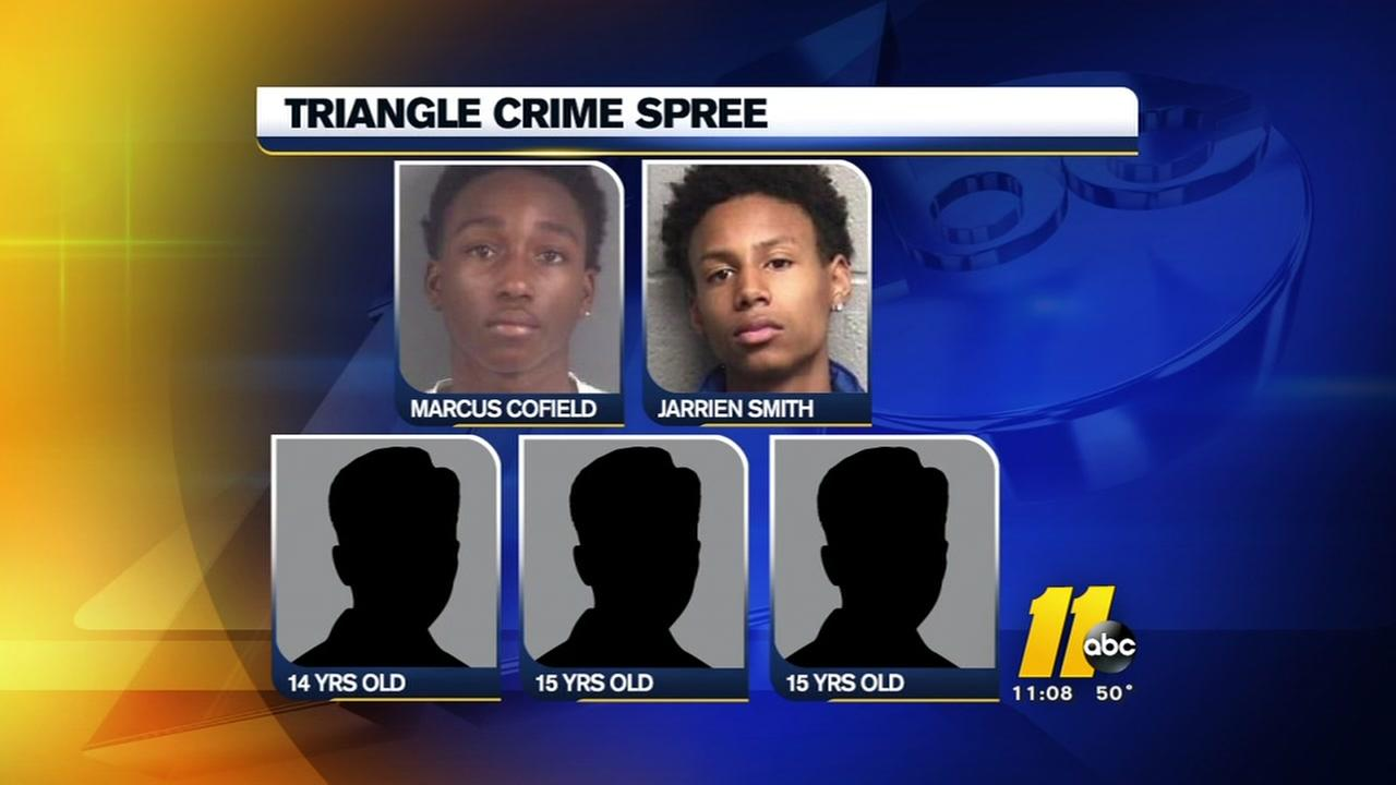 Five in custody after Triangle crime spree