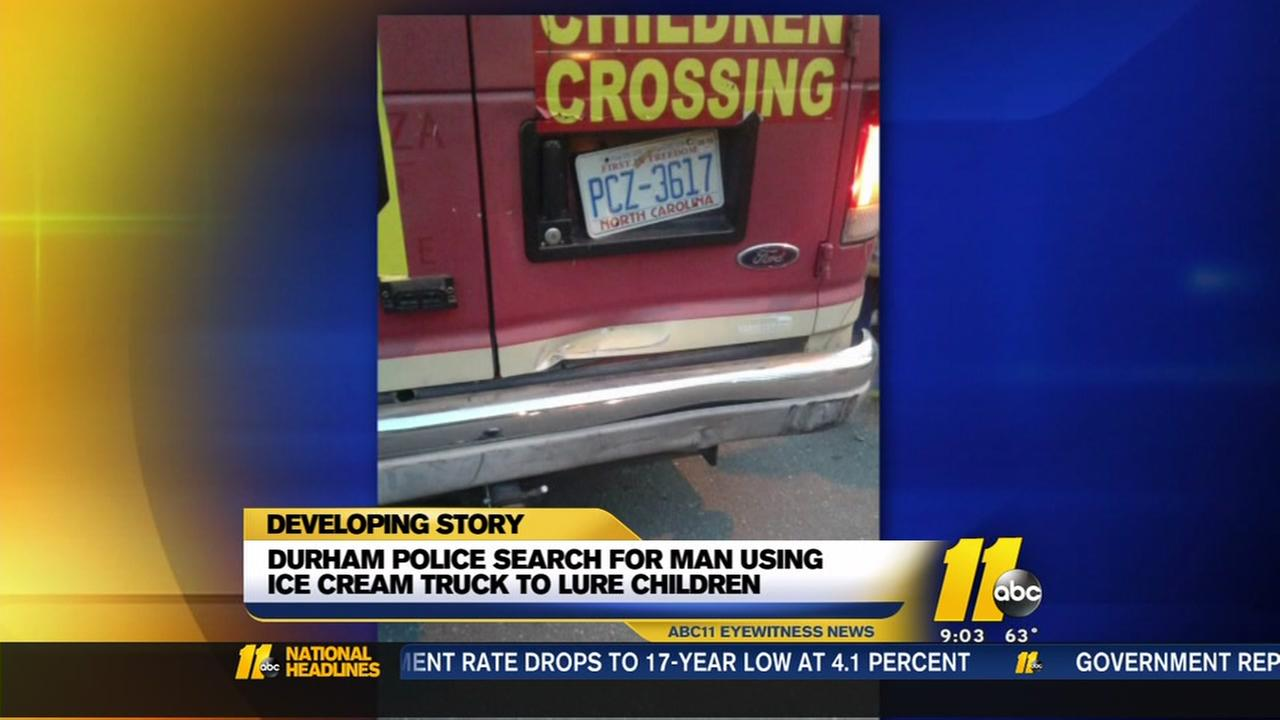 Man wanted for using ice cream truck to lure kid.