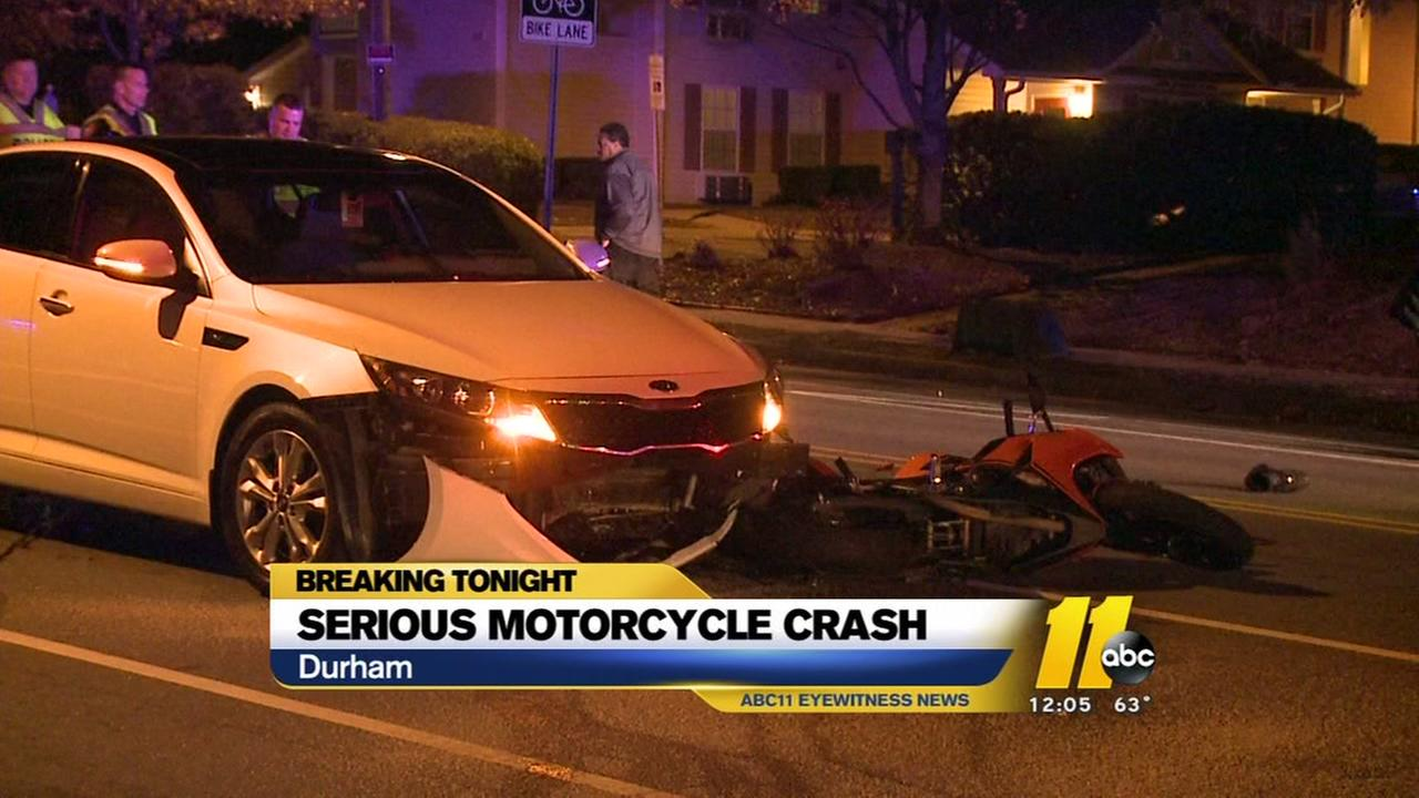 Motorcycle, car crash in Durham