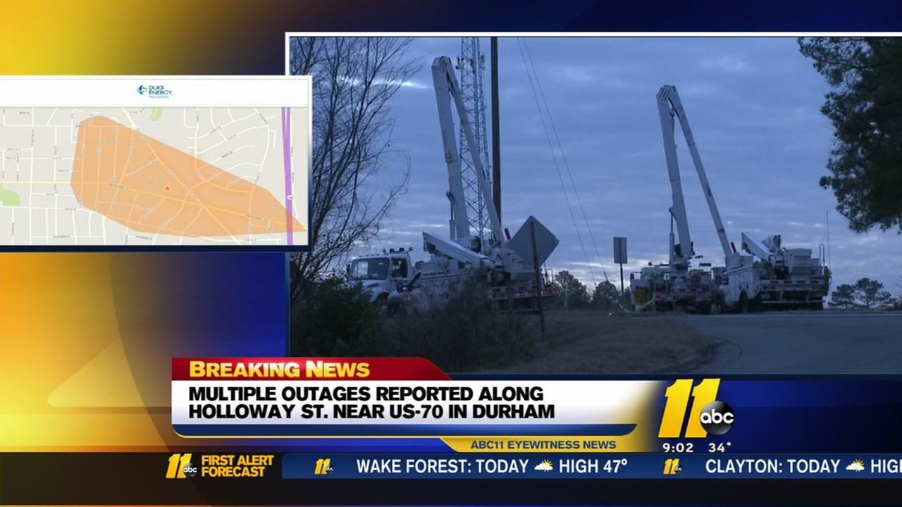 Close to 700 Duke Energy customers lose power after crash in Durham