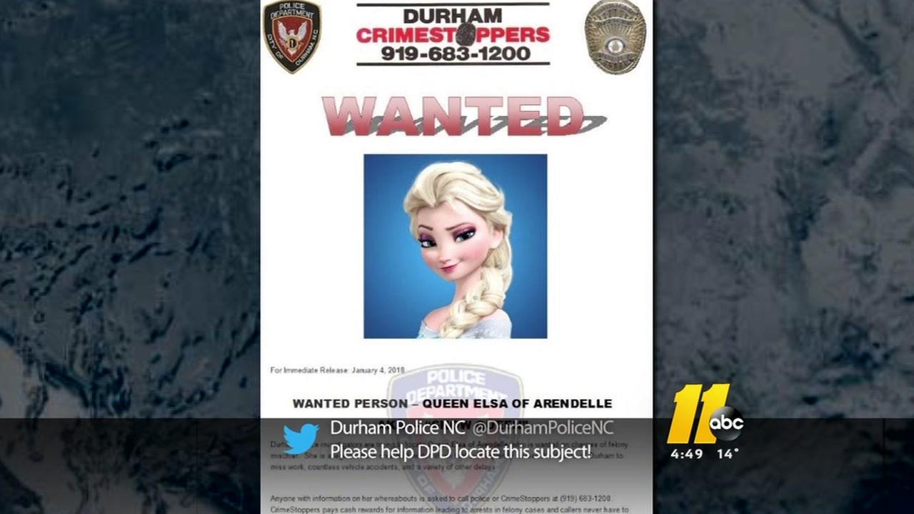 Durham police search for winter mischief criminal: Elsa