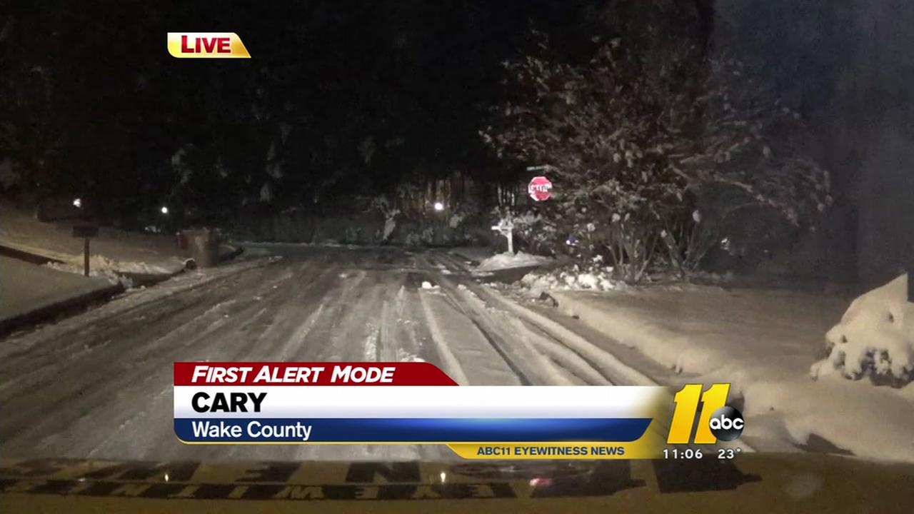 Wake County road conditions Thursday night