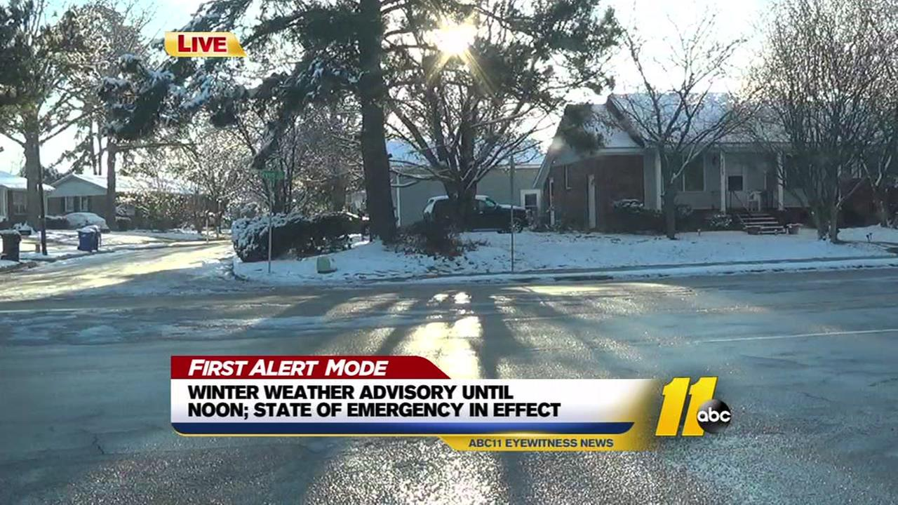Wintry road conditions