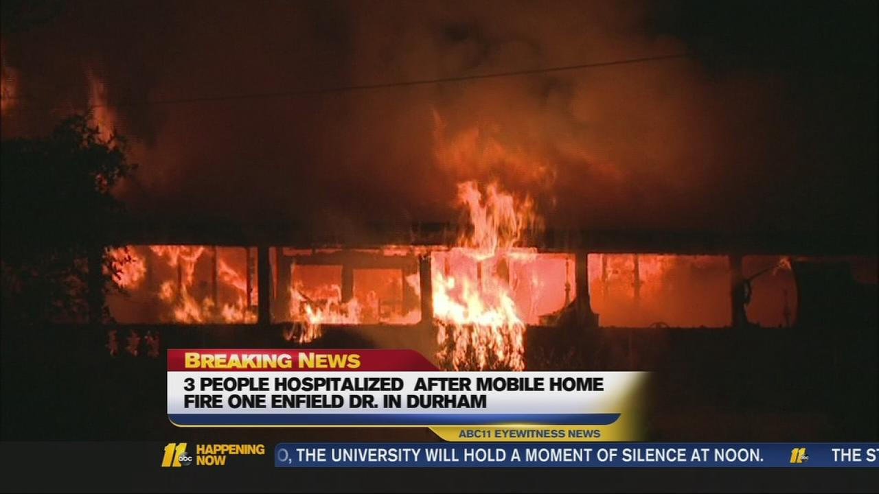 Three hospitalized after mobile home fire