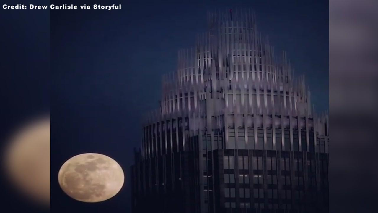 WATCH: Stunning time-lapse shows supermoon over Charlotte bank