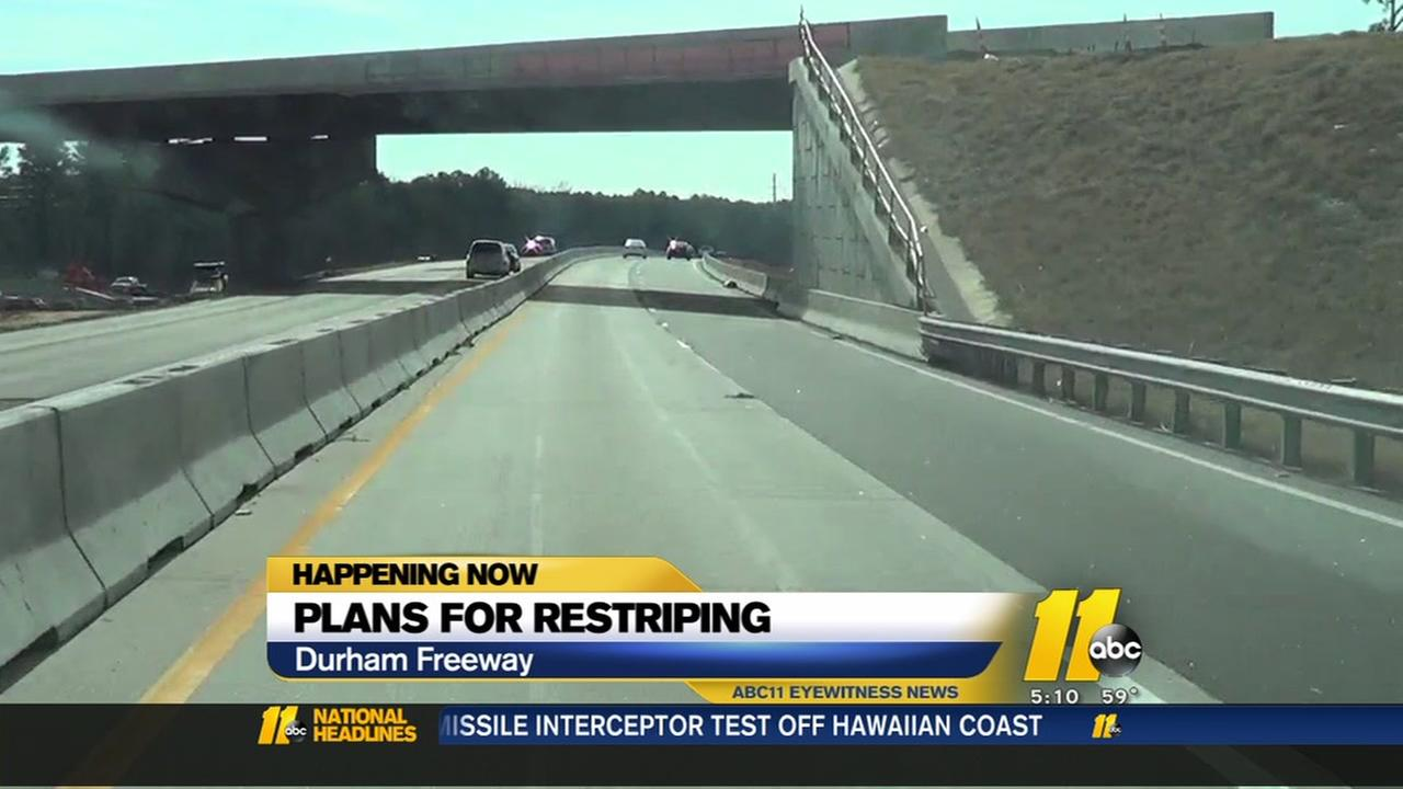 Restriping planned for Durham Freeway