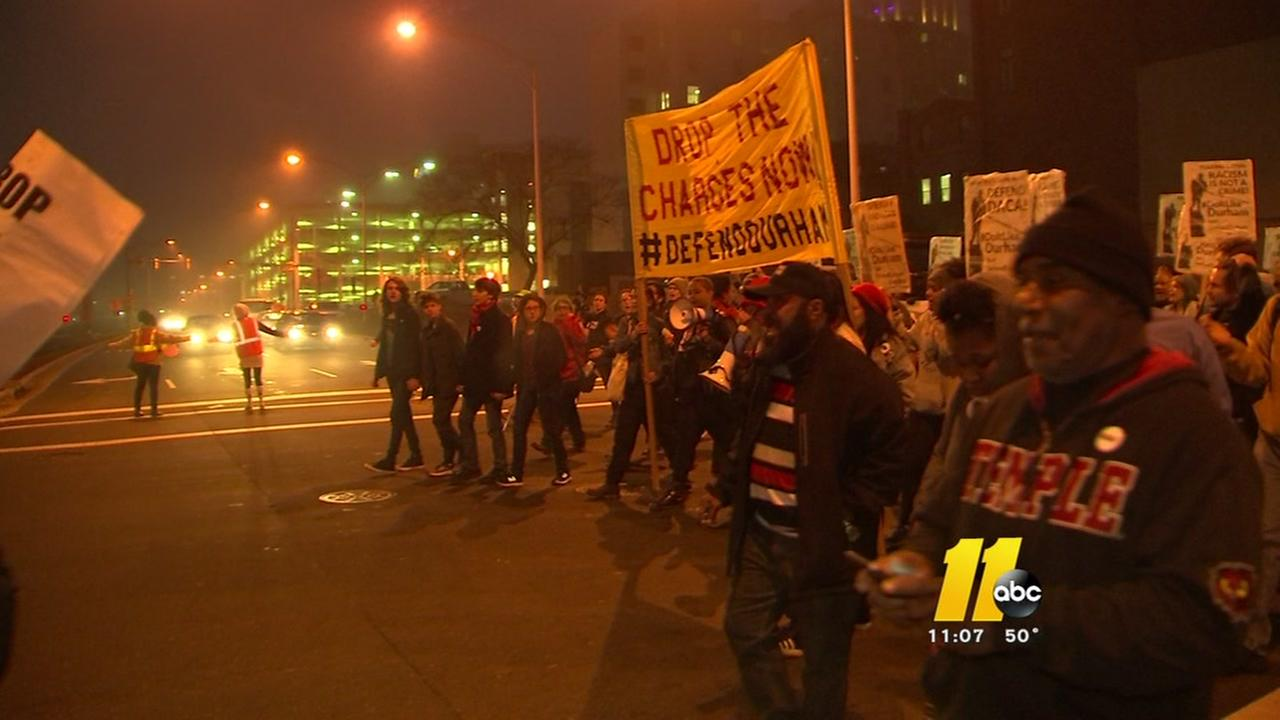 Protesters march in Durham