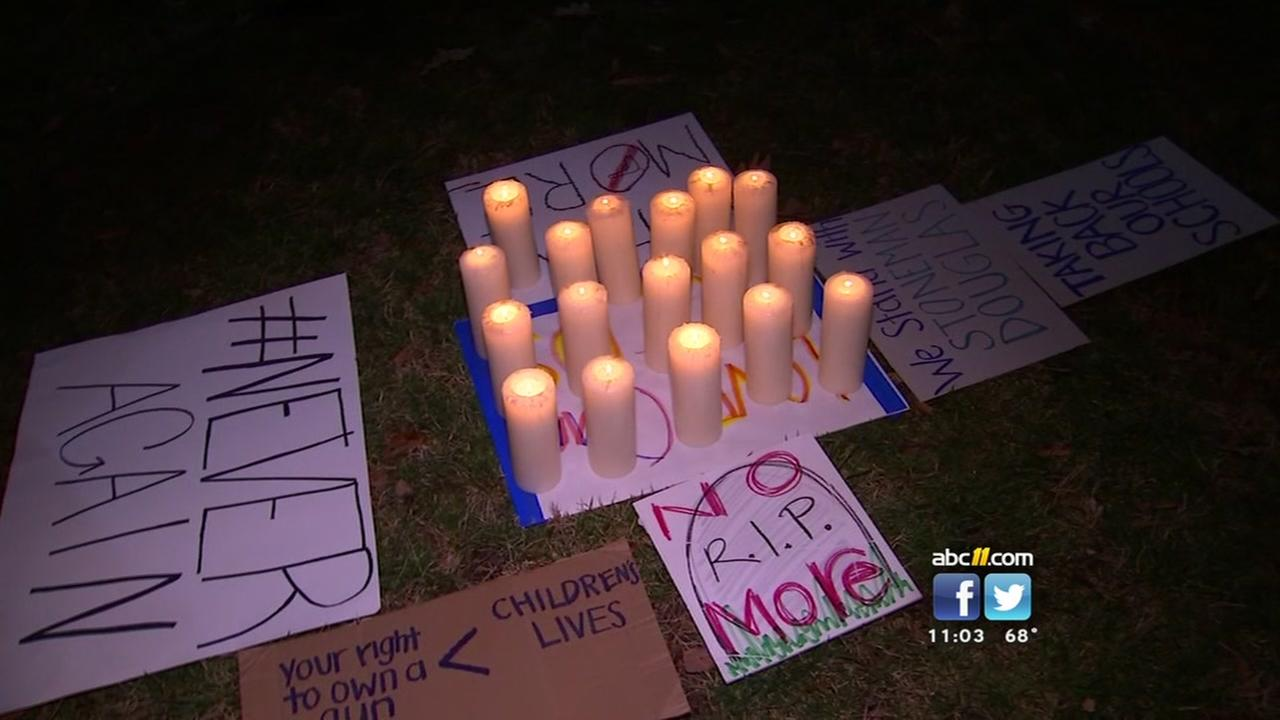 Students march in Raleigh for vigil, calls for more gun control