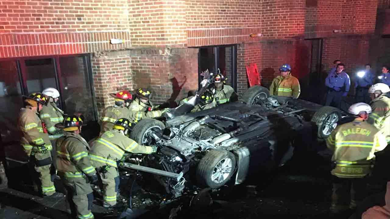 Man injured after car crashes in Raleigh church, flips over