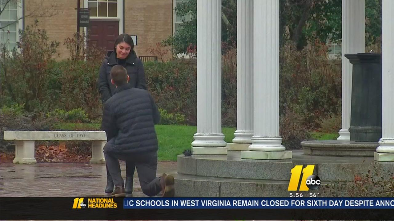 ABC11 camera captures Old Well marriage proposal