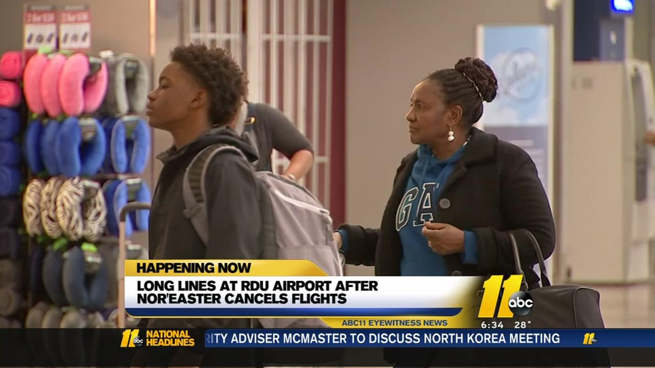 Noreaster delays flights at RDU