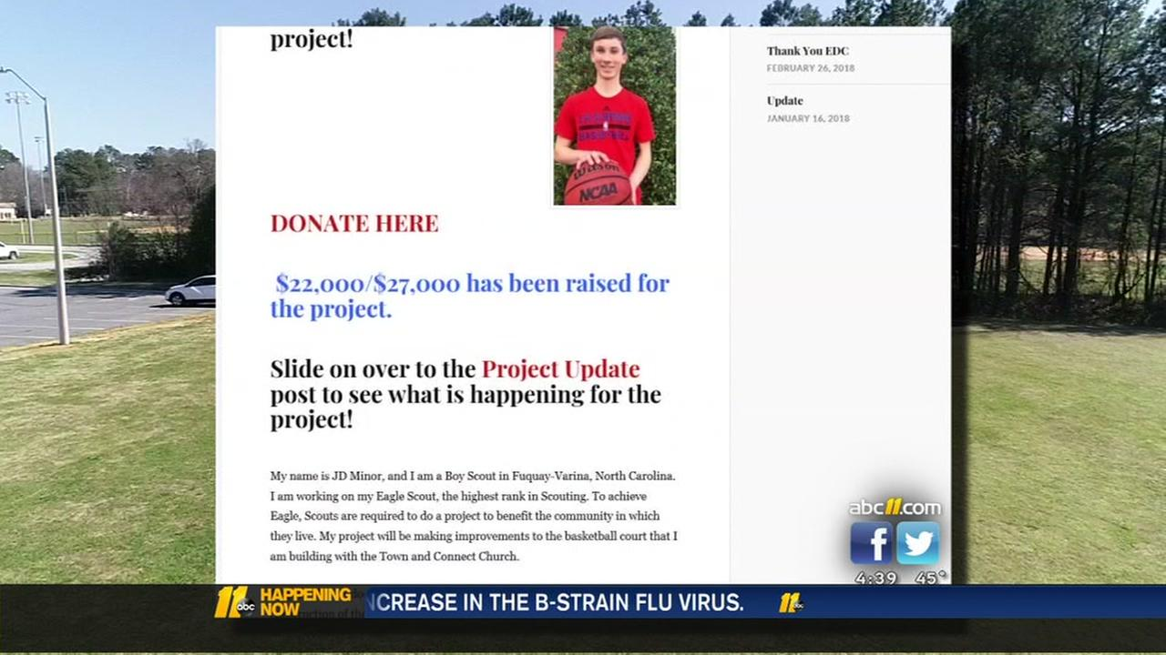 Wake County Boy Scout leads project to build towns first outdoor basketball court