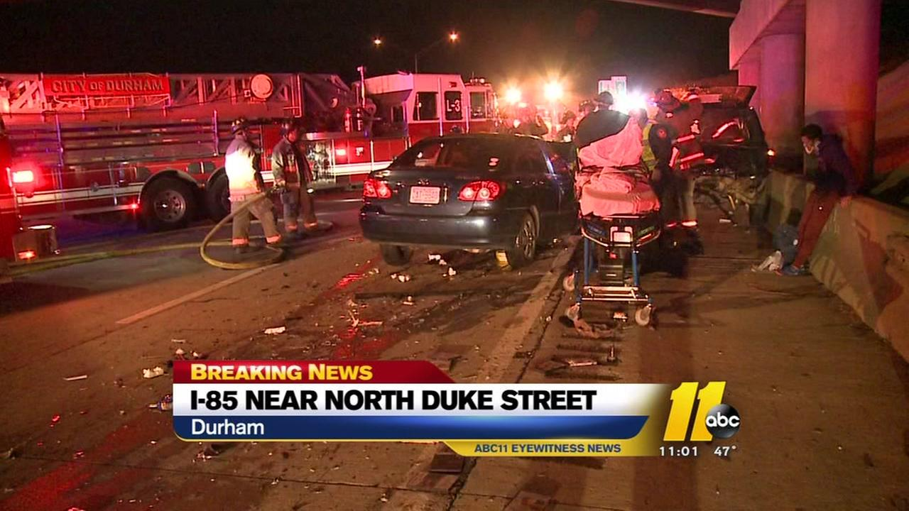 Read-end crash on I-85 in Durham