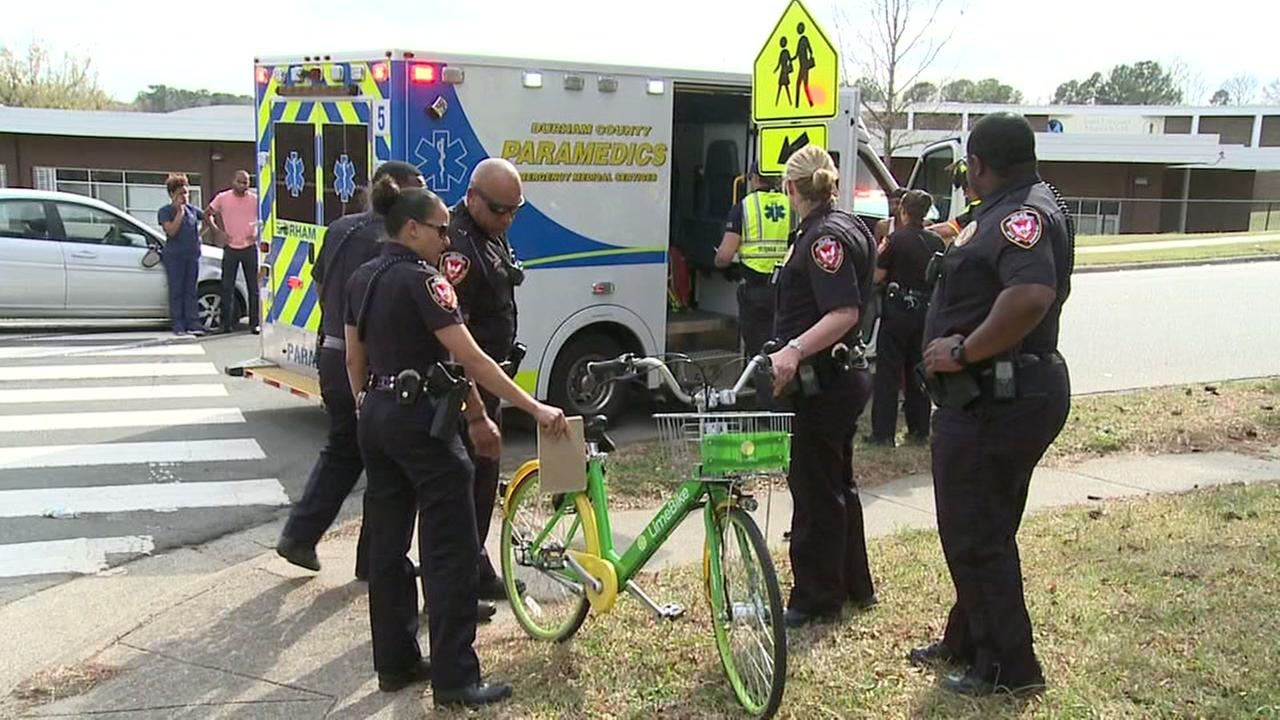 Child on bike struck by car in Durham
