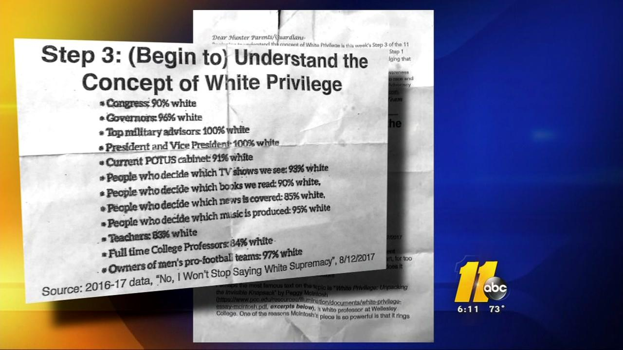 Mother upset about white privilege sheet given to student