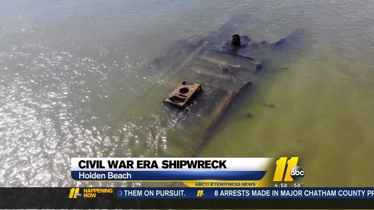 Drone video captures Civil War-era shipwreck off Holden Beach