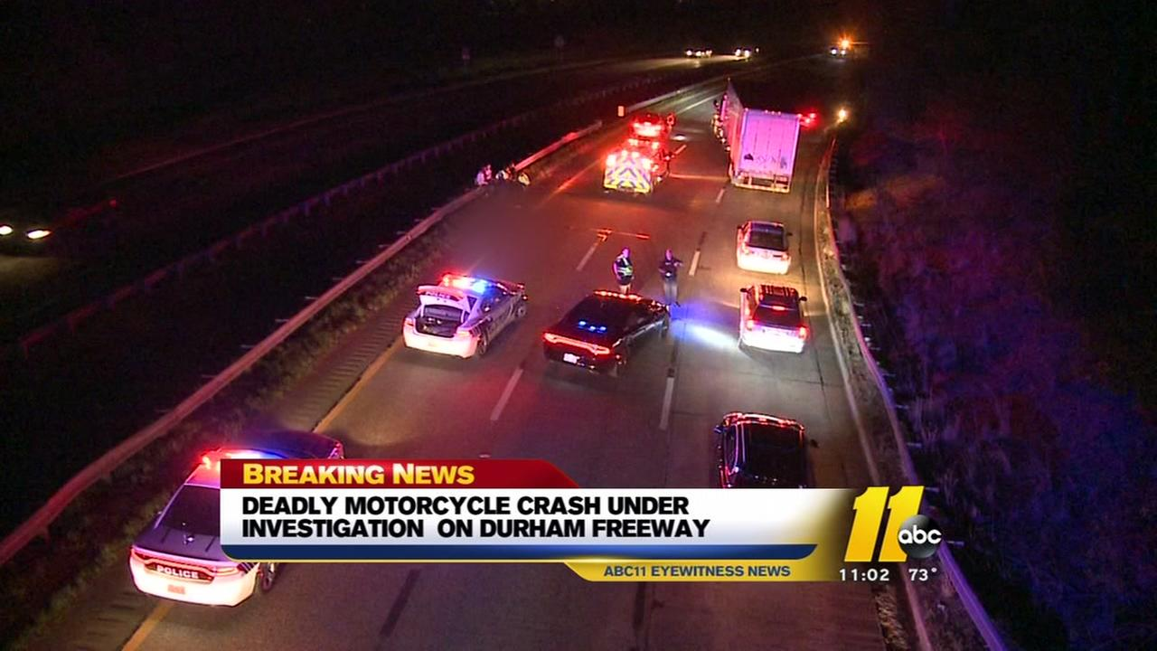 Deadly motorcycle crash on Durham Freeway