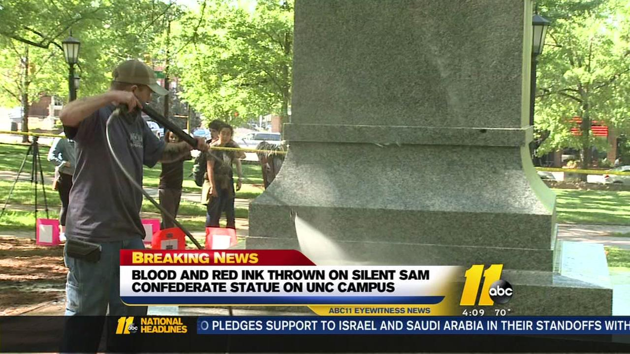 Protester says she defaced Silent Sam statue with her blood, red ink