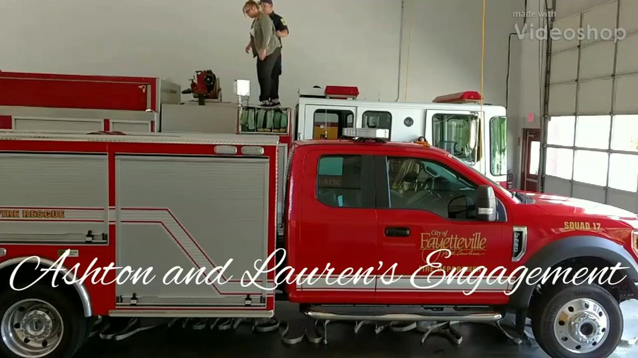 Fayetteville firefighters pull off surprise wedding proposal