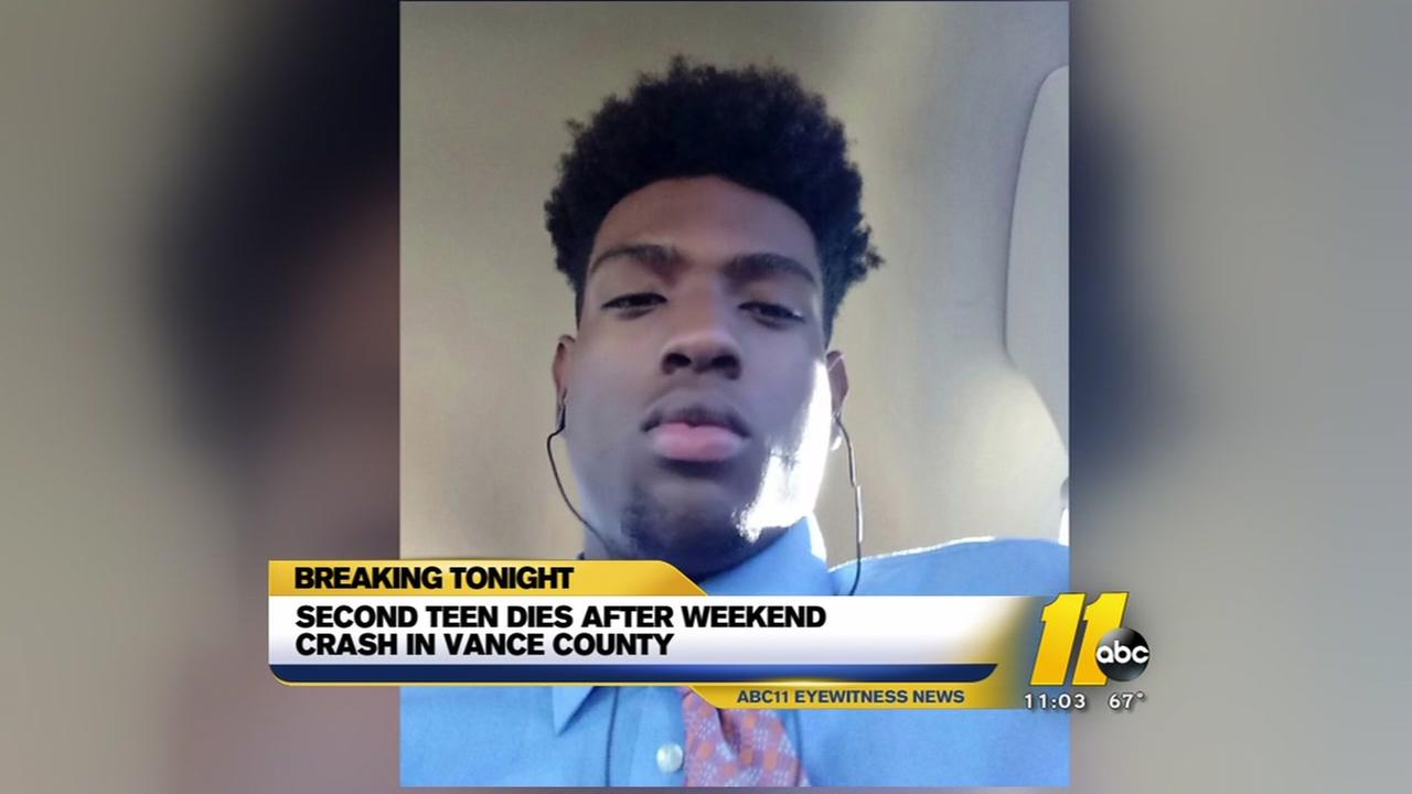 Second teen dies after weekend crash in Vance County