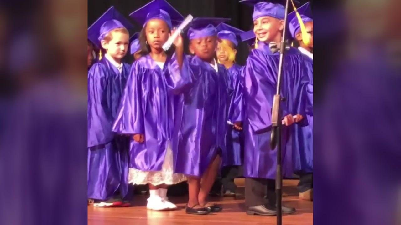 5-year-old Aubrey Toby was the star of the show at her Pre-K graduation