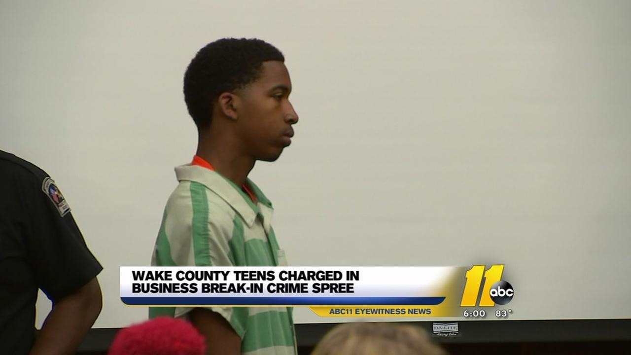 Wake teens charged in business crime spree