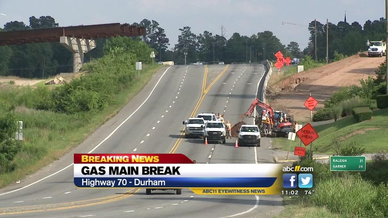 Gas main break affects traffic in Durham