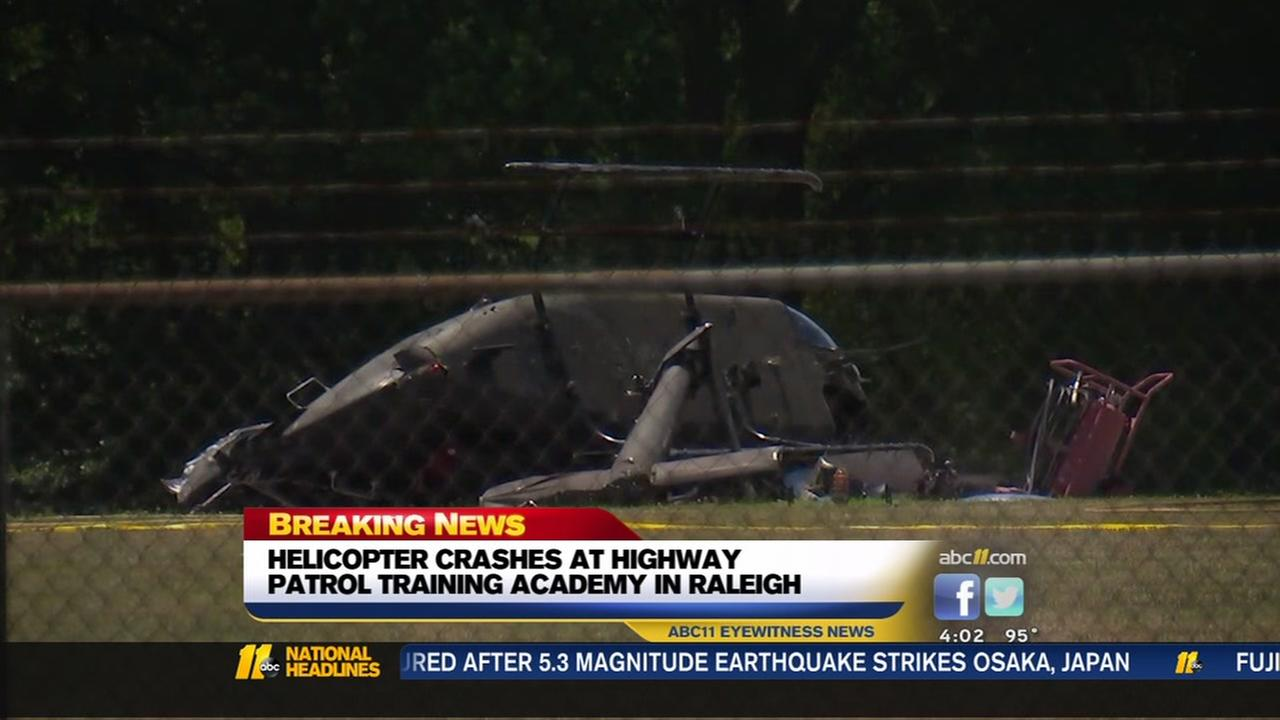 Helicopter slams to the ground at highway patrol training facility
