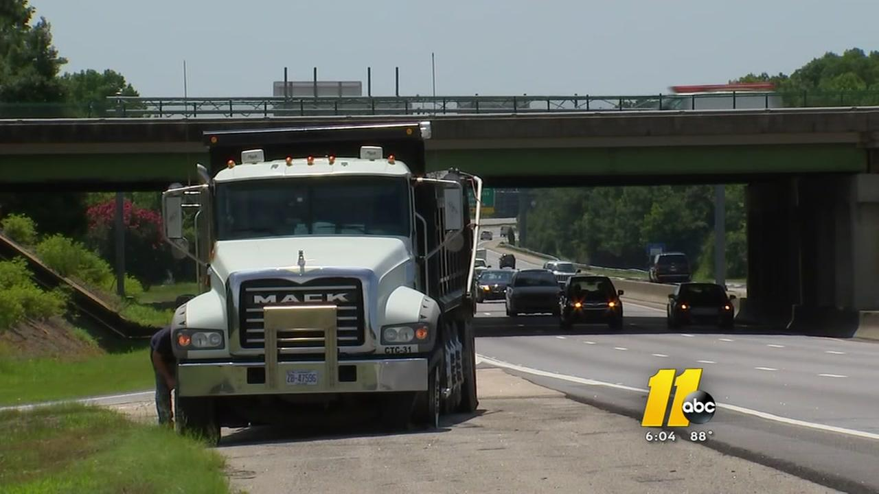 Dumptruck that had tires shot out may have been roadrage