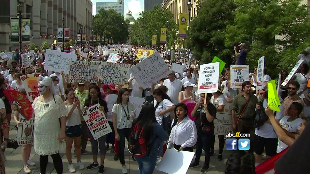 People rally in Downtown Raleigh and Chapel Hill denouncing family separation