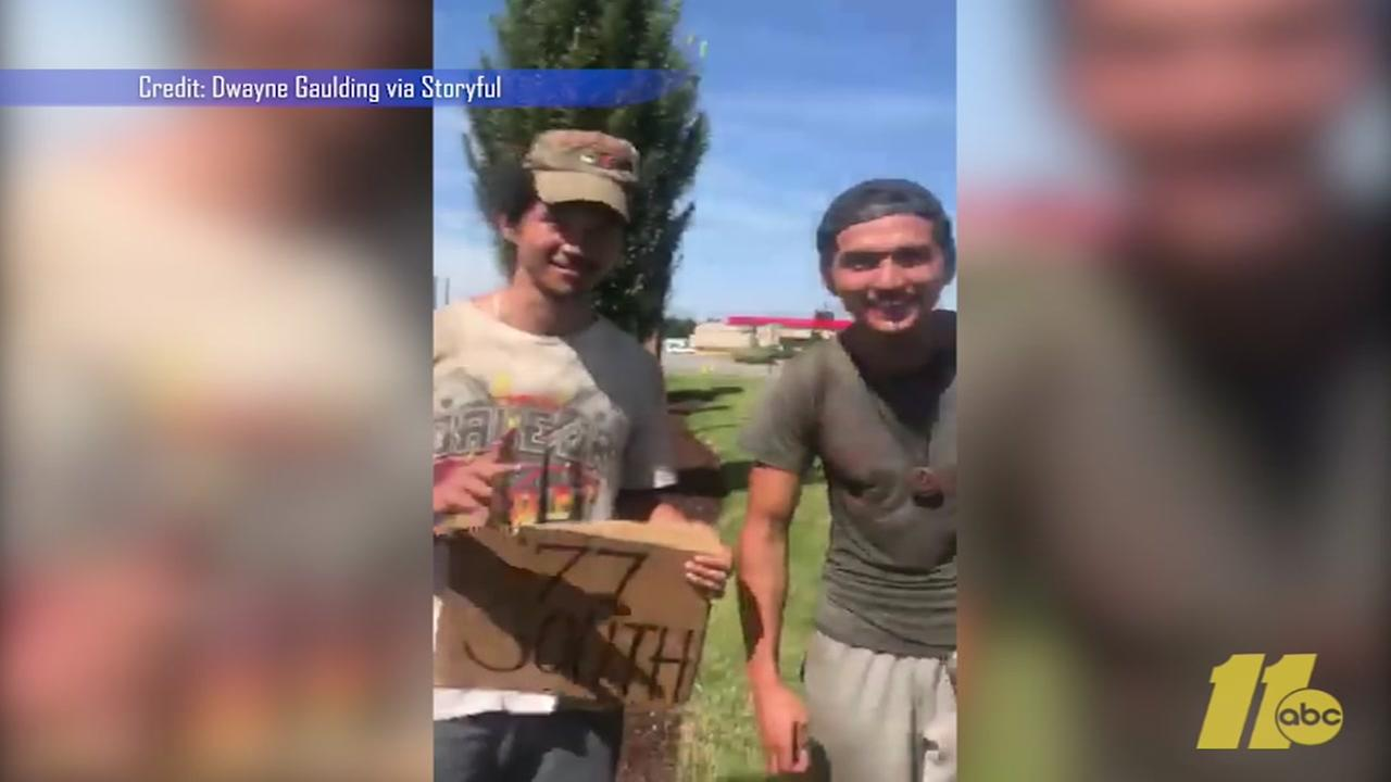 Hitchhikers surprise NC driver with Wagon Wheel performance