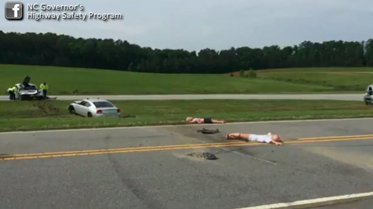 Crash simulation showing the damage that can occur from not wearing your seatbelt